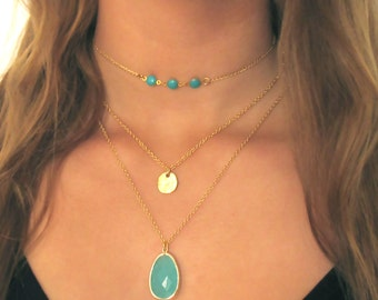 Layering Necklaces , Multi Layer Necklace , choker , dainty necklace ,  Crystal Necklace , boho necklace , bohemian necklace ,