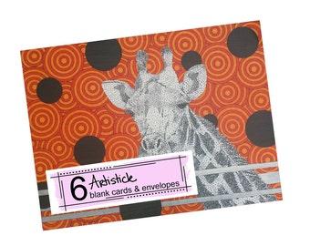 Orange Giraffe Cards - Blank Greeting Cards - Safari Stationery - Zoo Notecards - Wild Animal Cards - Thank You Notes - Pack of Cards