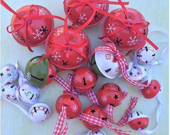 Gorgeous Red Hand-Painted Snowflake Bells - Set of 19