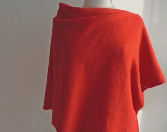 Poncho Knitted in Lambswool - British Spun Wool - Colour Hot Chilli Red