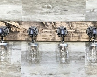 Rustic,Industrial,Modern 4 Mason Jars Light Fixture,Clear Mason Jar Light,Bathroom Fixture,Wall Lights, Bathroom Fixture,Pendant Light, Gift