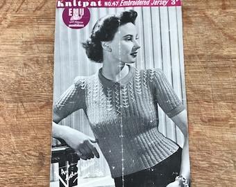 Vintage knitting Pattern - ladies jumper