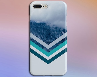 Rolling Fog x Snowcapped Mountain Chevron Phone Case, iPhone X, Rubber iPhone Case, Galaxy s8 Samsung Galaxy Edge Case Nature CASE ESCAPE