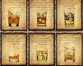 Discounted Set of Six Whiskey Prints with Quotes - Whiskey Poster - Bourbon Print Scotch Sale Bar Art  #vi810