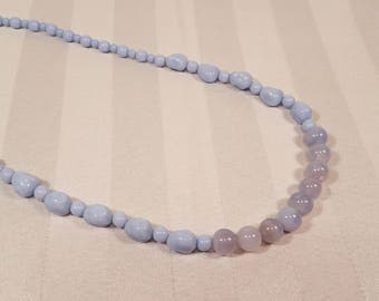 Chalcedony Baby Blue Necklace, handmade jewelry, Czech glass bead necklace, gift for mom light blue periwinkle strand necklace gemstone
