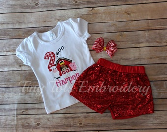 Barnyard Birthday Outfit ~ Barnyard Sequin Shorts Outfit ~ Includes Top, Sequin Shorts and Hair,Bow ~ Customize in any colors!