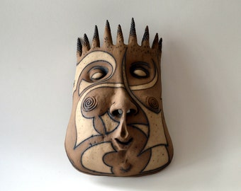 mask - ceramic mask - wall decor - sculpture - art - brown mask - brown sculpture