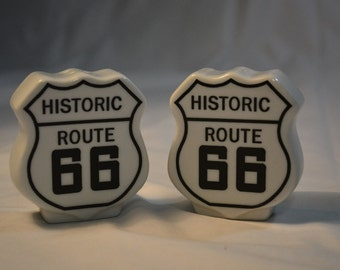 Vintage Route 66  Ceramic Salt & Pepper Shakers * Travel Decor * Kitchen Table Accent * Get Your Kicks on Route 66 * Road Trippers * Travel