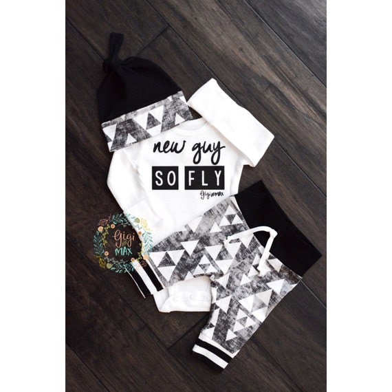 Newborn Baby boy coming home outfit New Guy So Fly black and