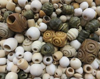 1 lb asst natural wood beads