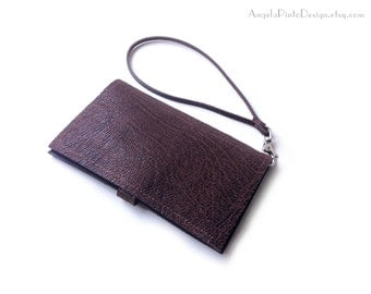 Wristlet Cell Phone Wallet for him and her. Brown Leather Wallet with detachable lanyard. Minimalist Coin purse wallet. Valentines gift.