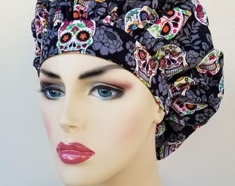 Bouffant surgical scrub hat, scrub cap for women, bouffant scrub hat, surgical cap, sugar skulls print scrub hat, surgical scrub hat