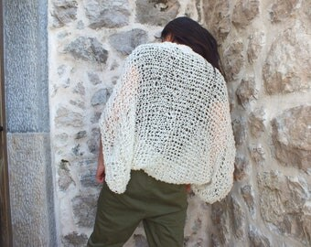 Ivory Shrug Loose knit shrugs Open knit shrug dress cover up knit shrugs boleros for women