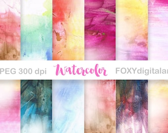 "Watercolor Digital Paper: ""WATERCOLOR PAPER"" scrapbooking, watercolour digital papers, watercolor texture, watercolor backgrounds, card"