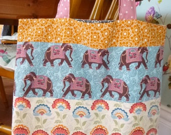 Indian inspired handmade shopping tote bag with elephants