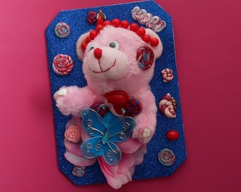Blue and Pink Birthday Plush Toy Greeting Card Gift -by Jaimee's Greeting Cards