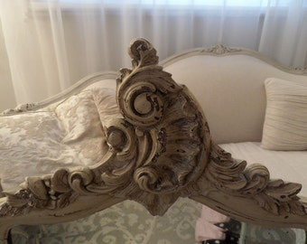Stunning Antique French Louis Gesso Roses Carvings Wall Mirror France