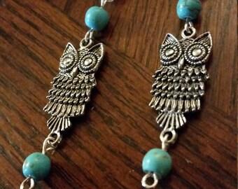 Turquoise and Owl dangle earrings