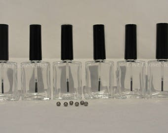 6 pc Empty Nail Polish Bottles Rectangle Wide View Glass / franken / oil / 0.5 oz. 15 ml. semi-wide brush, large  SS mixing balls included