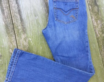 "Harley Davidson vintage blue jeans low rise, boot cut / Motor Clothes size 2 motorcycle biker / Waist 29""/74cm / Inseam 31""/79cm"