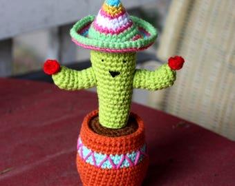 Carlos the cactus knit crochet cactus pincushion