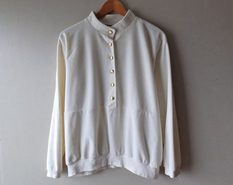 Vintage Cream Velour Pullover w/Brushed Gold Buttons - Size Large