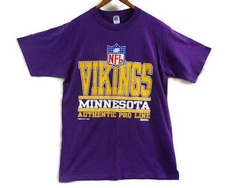 Vintage 1995 Minnesota Vikings T Shirt - Large - Russell Athletic - Made in USA - NFL - Football - Purple Shirt - Vintage Sports Tees -