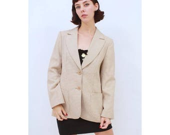 Vintage - ST MICHAEL - Cream - Camel - Houndstooth - Quality - Tailored - Blazer - Suit - Jacket - AUS 10 - S- Small