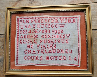 vintage / antique 1958 embroidery sampler in wooden Frame / ABC French embroidery Alphabet by School of Chatelaudren in France