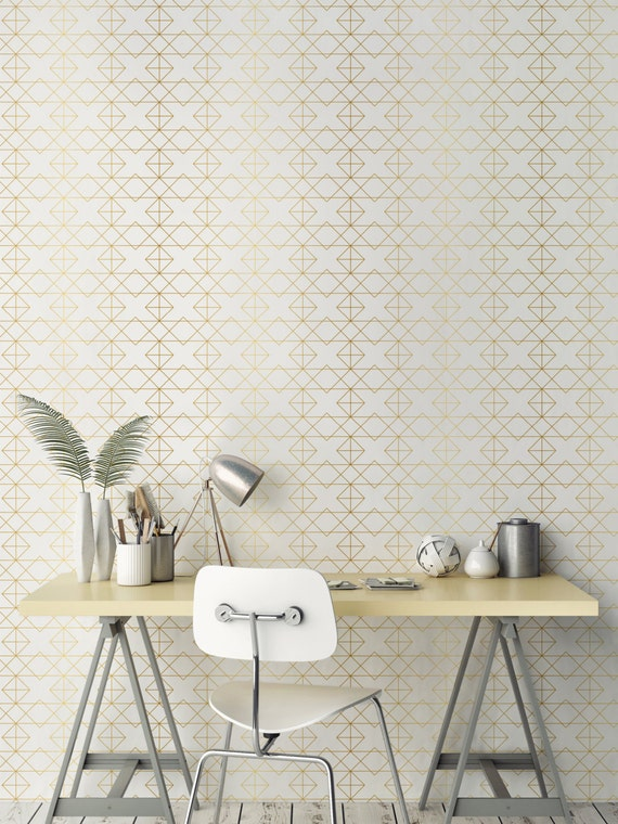 Geometric solid gold wallpaper removable wallpaper for Gold self adhesive wallpaper