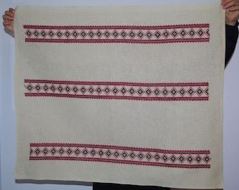 Ukrainian Rushnyk White Napkin Red Black emroidery Hand emroidered Linen Towel Serape Dresser scarf table runner rustic kitchen basket liner