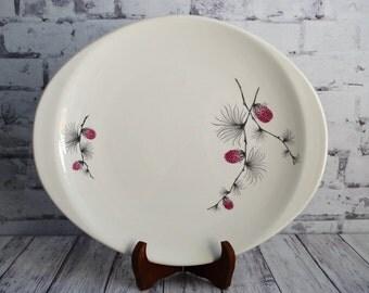 "Canonsburg Wild Clover Platter, Vintage Platter, Pine Cone Platter, Mid Centuy Modern 12"" x 10"""