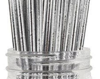 Two Dozen Metallic Silver Paper Drinking Straws - Hollywood - Glam - Bling - Wedding - - Birthday - Celebration & Party Supplies