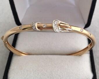 14K Solid Gold Diamonds 0.33cts Bangle Bracelet Unique Belt Buckle Design Hinged 8.7 grams