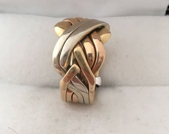 18K Gold 6 Bands Puzzle Ring Solid Heavy Rose White & Yellow 750 Gold Weaved Celtic Knot Inspired Hallmark Over 11 Grams Hallmark Designer U