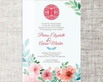 DIY Printable / Editable Chinese Wedding Invitation Card