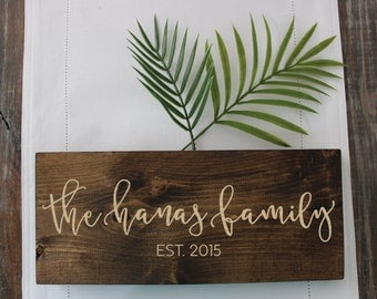 Custom Family Name Engraved Wooden Sign / Home Decor / Wood Sign
