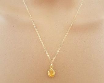 Citrine Necklace, Citrine Oval Pendant, Small Citrine Necklace, November Birthstone, Dainty Necklace