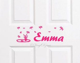 Dragonfly Kids Name Decal, Kids Door Sign, Kids Door Decal, Name Door Decal, Name Sticker,  Bedroom Door Sticker WD-1103