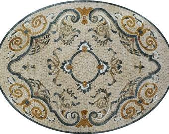Persian Oval Floor Mosaic - Jahan