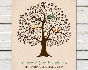 GRANDCHILDREN FAMILY TREE, Christmas Gift for Grandparents, Grandkids Family Tree, Grandparent Gift, Family Tree with Kids Names