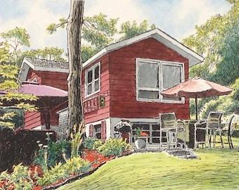 Custom Watercolor Home Portrait / Color Home Portrait / Custom Home Portrait