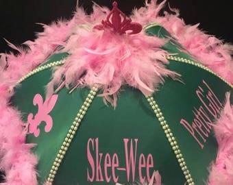 AKA Sorority Wedding Parasol, New Orleans Second line Umbrella, Pink and Green AKA, New Orleans Destination, Mardi Gras Parade Bride