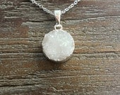Mini Snow White Druzy Silver Pendant Necklace/round/circle/white/Sterling Silver Chain