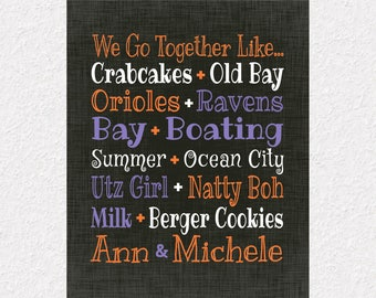 Maryland Gift Print, Baltimore Print, Charm City Canvas, Crabcakes and Old Bay, Natty Boh & Utz Girl, Gift for Best Friend, BFF Gift Print