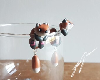 Fox Earrings, dangly tails, cute, two part stud, fake gauge, jewelry