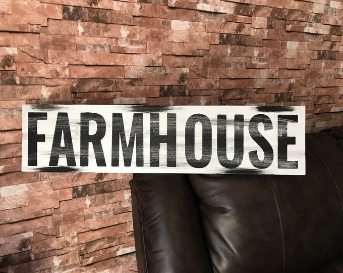 Featured listing image: Farmhouse Rustic Country Fixer Upper Style Farm House Wood Sign 30 inches long!