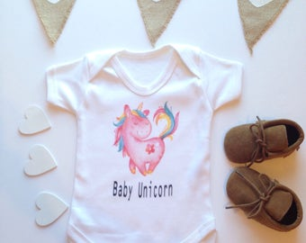 Baby Unicorn Pink Funny Unicorn Baby clothes - Baby Cute Bodysuit or Shirt Typographical Quote