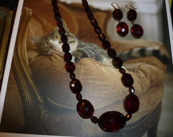 Beautiful Antique Dark Cherry Amber Faceted Bead Necklace And Earring Set