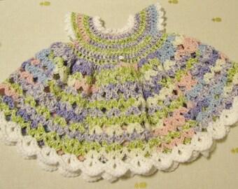 Crochet Infant Dress, Pastel Dress, Infant 3 months, Child's Dress, Summer Dress, Baby Shower Gift, Girl Birthday Gift
